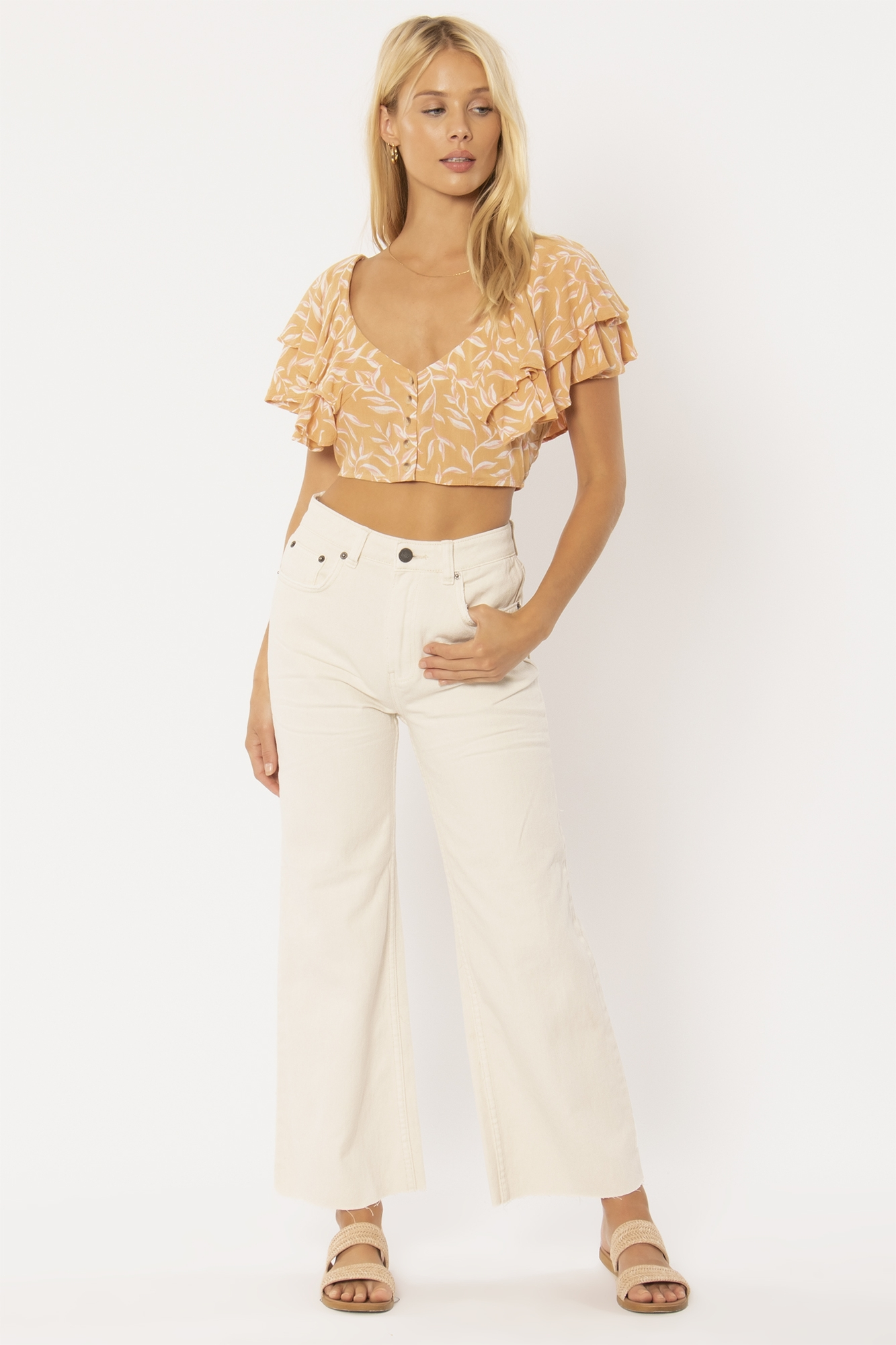 FIND YOUR LIGHT S/S CROP WOVEN